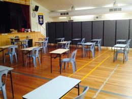 Portable room dividers help school admin cluster students during exams