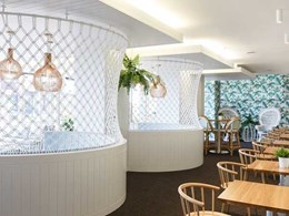 Easycraft easyvj panelling used for feature wall and ceiling at Semaphore Palais