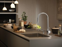 Newform's elegant kitchen mixers with a high spout
