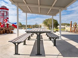 All-weather DDA compliant furniture specified for Eglinton beachside park