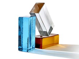 Poesia solid glass bricks in 5 colours for light-filled interiors