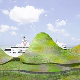 Junya Ishigami takes out Kinmen ferry terminal competition with man-made mountain range design