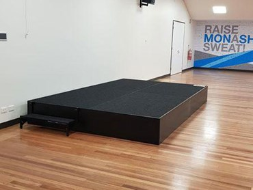 QUATTRO podiums provide a safe and secure platform for fitness instructors