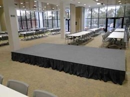 QUATTRO Fold & Roll stage system matches the flexibility of AEU's multi-tasking conference room