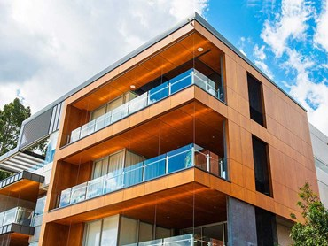 Prodema natural wood cladding ensured visual continuity on Riverpoint's facade