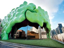 Penrose façade at RMIT University created offsite with ShapeShell FreeForm