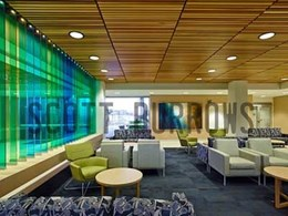 Ultraflex's linear batten panels installed at Sunshine Coast University Hospital foyer lounge