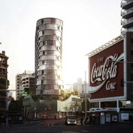 Durbach Block Jaggers hourglass tower overlooks Kings Cross Coke sign