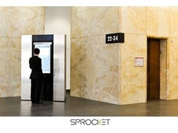 "46"" Sprocket touchscreen tenant directory redefines foyer at 200 Queen Street"