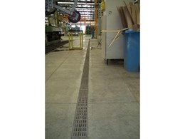ACO KlassikDrain K100 trench drainage system with Heelsafe ductile iron grates specified for new Viridian Glass plant