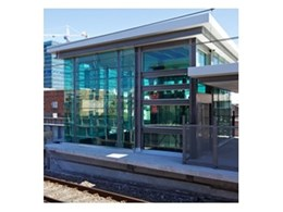 Record Automated Doors Fineline-XT Series operable glass louvres installed at Burwood train station