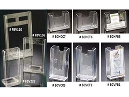 Acrylic brochure holders available from Spacepac Industries