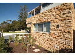 Cinajus Teakwood Sandstone used for cladding, capping and paving at Sydney home