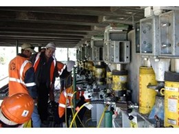 Coates Hire hydraulic jacking equipment used to lift Merrylands Railway overpass bridge