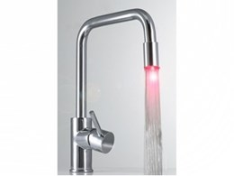 Colori Aqua kitchen mixer taps from Smeg Australia with temperature sensing LED lights