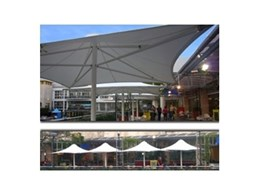 Commercial shade umbrellas from Flexshade installed at Sunshine Coast shopping centre