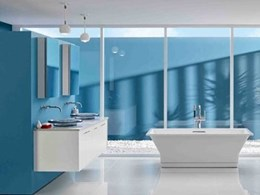 Cool desert bathroom takes inspiration from the blue skies and Kohler's basins and bath