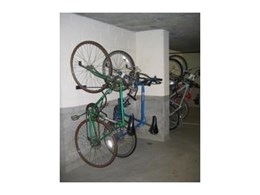 Cora Bike Rack's CVR series of vertical wall mounted bicycle hangers at Darling Island