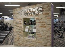 Craftstone manufactured stone selected to enhance Anytime Fitness stores