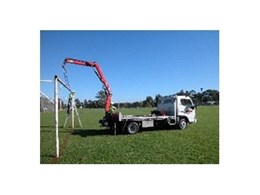 Crane Truck Hired from Kennards Lift & Shift used to Erect Goal Posts
