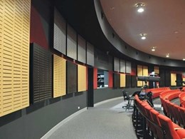 Creative acoustic wall panel feature by Supawood enhances school theatre