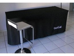 Custom printed corporate tablecloths for Bolle sunglasses from ITK