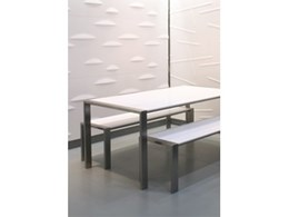 Design Hub develop stainless steel furniture with Solid Surface coating