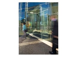 Diamond frameless glass revolving doors by Record Automated Doors