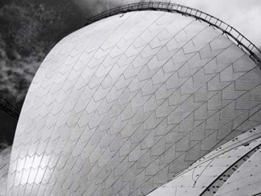 Sydney Opera House with Tilers, 1972, by Max Dupain. Photo: Max Dupain