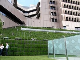 Elmich greenwall modules and adjustable pedestals bring greenery and tranquillity to Brisbane hospital