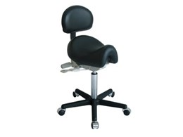 Ergo Saddle Ergonomic Chrome Stools with Back Support available from Germaine's Furniture