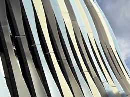 Fins on boutique apartments exterior created with Perspex Frost acrylic sheets