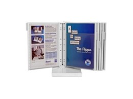 Flippa multisheet and brochure display systems available from Arnos Australia