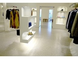 Flowcrete terrazzo flooring installed at McQueen's flagship store in Beijing