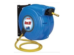 General purpose air and water spring rewind hose reels available from ReCoila Reels