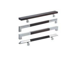 Handles of cool stainless steel with warm wood