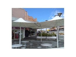 Hexagonal modular shade umbrellas available from Flexshade