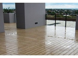 Innowood composite decking installed in Hurstville, Sydney apartment using concealed fixing system