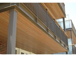 Innowood decking board used in balcony ceiling soffits shows versatility