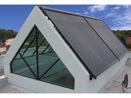 Issey glass roof awnings for skylight block sun and heat in WA home