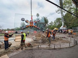 Kennards Hire supplies 1000kg glass lifter for glass panel installation at Melbourne Zoo
