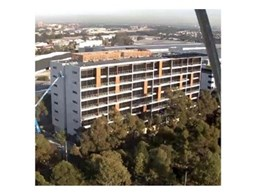 Kingwood external cladding, louvre and decking installed at Quest Service Apartment, Sydney Olympic Park