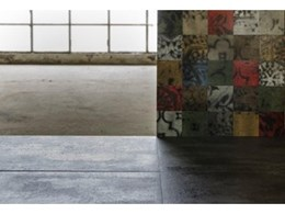 Large format Krea porcelain tiles inspired by coloured concrete