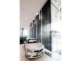 Large scale motorised roller blinds by Helioscreen installed at CMI Toyota showroom