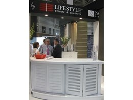 Lifestyle Blinds & Shutters showcase Siberian Larch external timber shutters at DesignEX