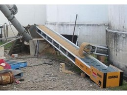 Linked conveyors from Kennards Lift & Shift used to remove flood damaged grain