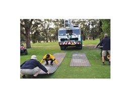 Linked ground protection mats from Kennards Hire used at Concord Golf Club to protect the turf
