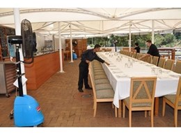 Manmade Mist from Kennards Hire Misting Fans Cools Function Centre