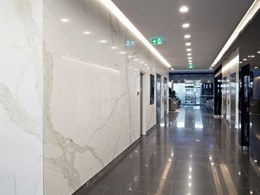 Maximum Calacatta porcelain panels used in wall cladding for Brisbane building refurbishment
