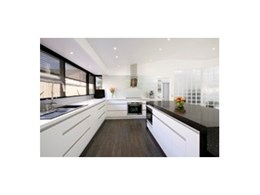 Modern kitchen design featuring Blum hardware and Caesarstone benchtops completed by Wonderful Kitchens